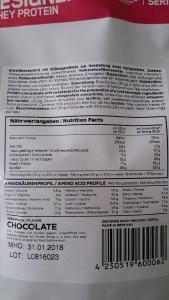 Inhaltsstoffe und Naehrwertangaben beim Testprodukt
